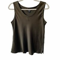 Eileen Fisher Womens 100% Silk Pewter Sleeveless Scoop Neck Top Medium