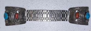 """Vintage Navajo Sterling Silver Coral & Turquoise Watch Band Tips Signed ML 1.25"""""""