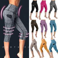 Womens High Waist Yoga Capri Pants Cropped Pocket Fitness Sports Gym Leggings G1
