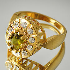 Vintage Womens yellow Gold Filled Olive CZ CZ Band Ring Size 7 8 9