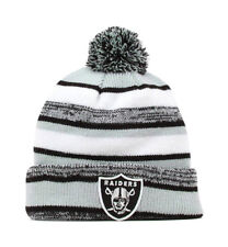 New Era NFL Oakland Raiders 2015 Black Gray White Beanie Stripped Lined Pom Hat