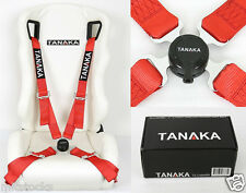 """1 TANAKA UNIVERSAL RED 4 POINT CAMLOCK QUICK RELEASE RACING SEAT BELT HARNESS 2"""""""