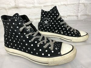 CONVERSE Black Leather Polka Dots High Top Sneakers | Women's 7 #20750