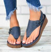 Womens Wedge Sandals Slide Buckle Open Toe Espadrilles Slingback Flip Flop Shoes