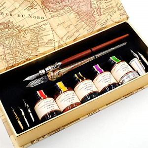 GC QUILL MU-02 Calligraphy Pen Set, Glass Dip Pen and Handcrafted Wooden Dip Pen