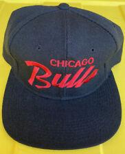 NWOT Vintage Chicago Bulls Youngan Single Line Script SnapBack Hat Cap Black