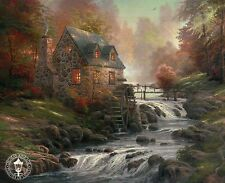 Cobblestone Mill -- Water Stream, Cottage etc. -- Thomas Kinkade Dealer Postcard
