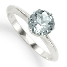 Classic knife-edge Aquamarine Engagement Ring in 18k Ring Sizes  4 to 9.5 R1060.