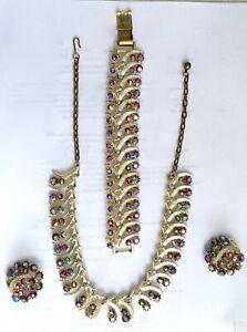 Vtg Mid-Century Parure AB Jewelry Set, Signed ART, Choker, Bracelet, Earrings
