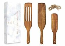 Spurtle Kitchen Tools Set Spatula Cooking Utensils 3 Piece Acacia Bamboo Set NEW