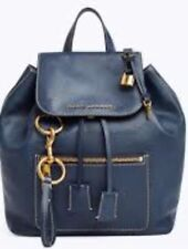 New Marc Jacobs M0014018 The Bold Grind Backpack Blue Sea navy leather Bag flap