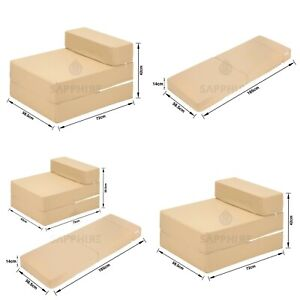 BEIGE Fold Out Single Chair ZBed Sofa Guest Futon Chair Bed Longer Mattress Foam