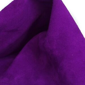 Suede Leather Pieces Cow Purple Color Split Buffed to Velvet Buttery Look 4 oz