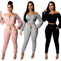 Women's Jumpsuits 2-piece Sweater Suits Lace Up Tops and Casual Pants Set S--XXL