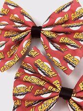 BAZINGA! Big Bang Theory Fabric Handmade Hair Bow Sheldon Cooper Geeky