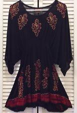 SAKKAS Women's Gauzy Cotton Embroidered Batik Tunic Blouse Top BLACK RED 1 Size