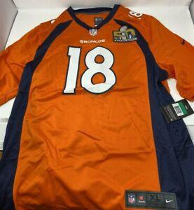 Nike Men's Denver Broncos #18 Peyton Manning Orange Super Bowl 50 Jersey Size XL