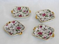 Individual Porcelain Ashtrays -  Pink Roses Gold Trim - Set of 4 - Elegant