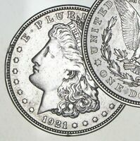 XF/AU 1921 Morgan Silver Dollar Last Year Issue 90% $1.00 Bullion - Polished