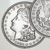 XF/AU 1921 Morgan Silver Dollar Last Year Issue 90% $1.00 Bullion - Polished