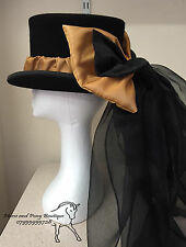 Concours d'elegance gold hat bow and drape, equestrian hat, Gothic top hat bow