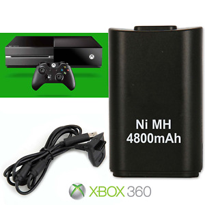 BLACK PLAY AND CHARGE KIT RECHARGEABLE BATTERY FOR XBOX 360 UK SELLER