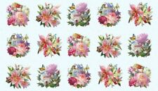 "23"" Fabric Panel - Elizabeth's Studio Hummingbird Bouquet Garden Flower Blue"
