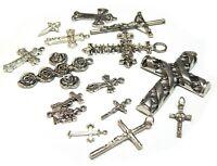 10 Kreuz Silber Metall Anhänger für Schmuck Halskette Armbänd Charm Kreuz F379