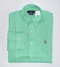 NWT Men's Ralph Lauren Casual Long-Sleeve Chambray Oxford Shirt Green L, Large