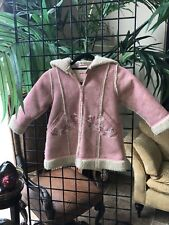 Girl's Size 4 Pampolina Pink Fleece lined embroidered coat w hood