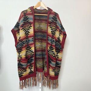 American Eagle XS S Cardigan Sweater Boho Aztec Fringe Poncho Hood Southwestern