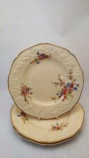 """Set of THREE Crown Ducal Marie Florentine Shape 8 7/8"""" Luncheon Plates Crazing"""
