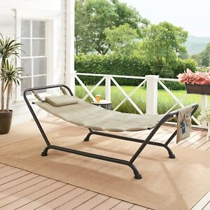 Mainstays Belden Park Polyester Hammock with Stand, can support up 250lbs