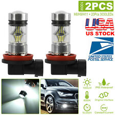 2x H8 H11 H9 6000K White 100W 360° Beam 3030 LED Fog Light Driving Bulb DRL IP65