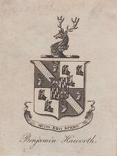 Ex-libris (Bookplate) héraldique Benjamin HAWORTH - Angleterre, XIXème siècle.