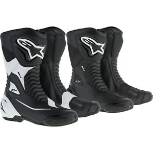 Alpinestars Smx S Sport Motorcycle Boots Racing Black And White with Grinder