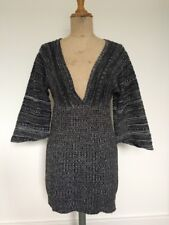 Ladies Grey Knitted Deep V Neck Jumper Dress One Size /12 Wide Sleeve