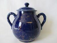 Vintage Japanese Porcelain Cobalt Blue Gold Flower Sugar Bowl Bamboo Style Handl