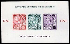 SLANIA ENGRAVED 1991 MONACO PRINCE ALBERT I SOUVENIT SHEET IMPERF MNH SC #1782