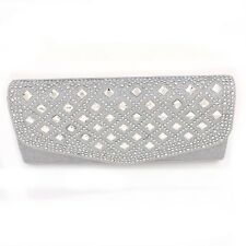 Glitter Evening Clutch Bag with Austrian Crystal Elements - Silver