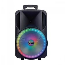 Axess 12-inch Loud Subwoofer Bluetooth PA Speaker with LED Light and FM Radio
