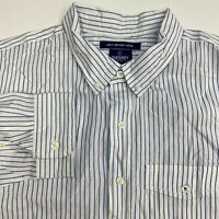 Old Navy Button Up Shirt Men's 2XL XXL Long Sleeve White Blue Striped Slim Fit
