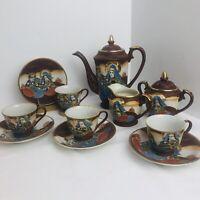 Antique Japanese Satsuma Samurai Tea Set Brown 14k Gold Trim Porcelain 11-Piece
