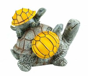 Solar Powered 2 Baby Turtles on Mama Turtle Outdoor Accent Lighting LED Garden