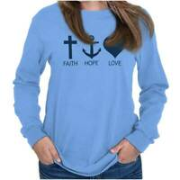 Faith Hope Love Jesus Christ Christian Religious God Gift Long Sleeve Tee