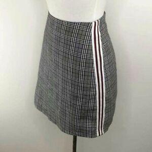 Ally Plaid Checked Skirt Side Stripes Mini Skirt Size 10 Black White Red