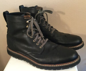 Men's Timberland Chukka Wingtip Boots Shoes Black Leather Size 14