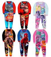 Kids Character All in One Piece Girls Boys Fleece Gift Pyjamas