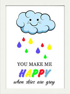 INSPIRATIONAL MOTIVATIONAL QUOTE YOU MAKE HAPPY ME RAINBOW COLOURS POSTER PRINT