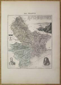 Gravure originale de 1895 - Carte du département des Alpes Maritimes